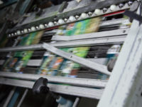 Print jobs move through the bindery